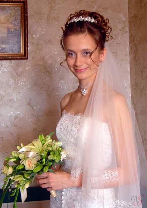 свадебная прическа, макияж