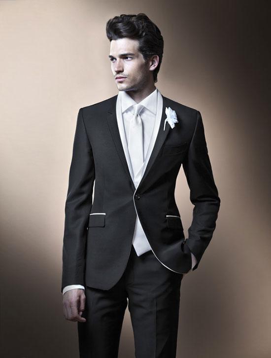 фото: Мужской костюм на свадьбу черного цвета с окантовкой - модно в 2014 году