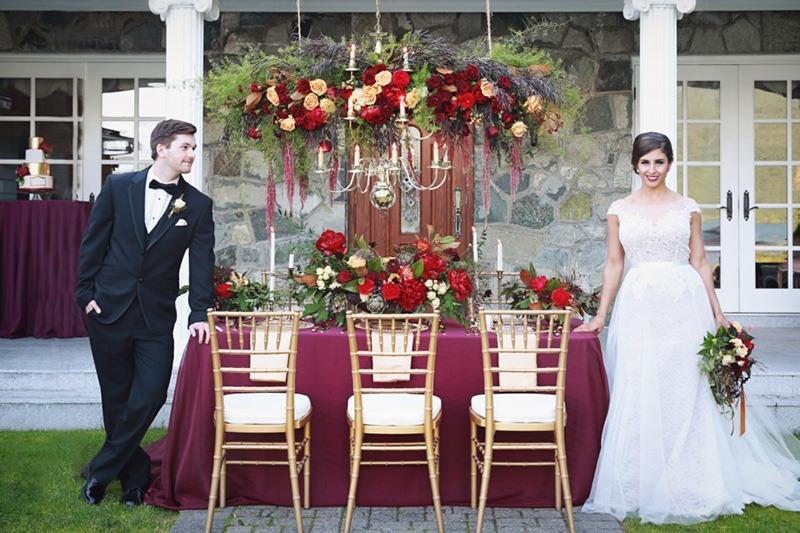 Оформление марсала свадьбы цвет