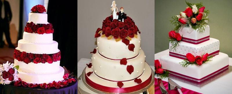 Торт свадебный в красном цвете фото
