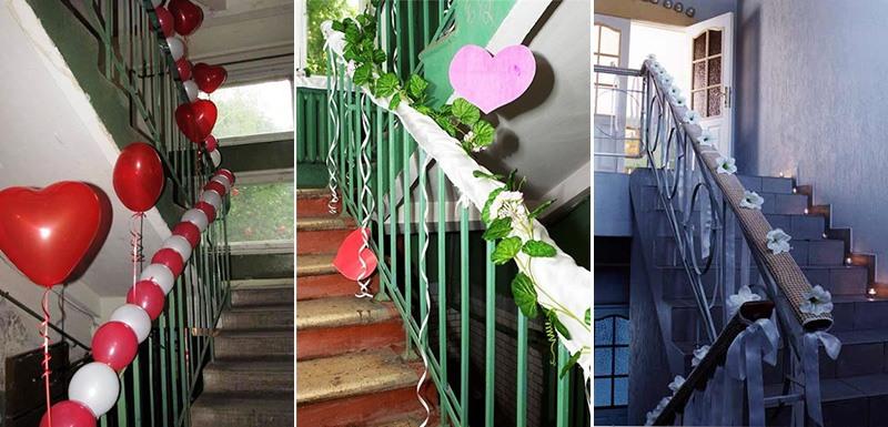 Чем украшают подъезд на свадьбу своими руками фото