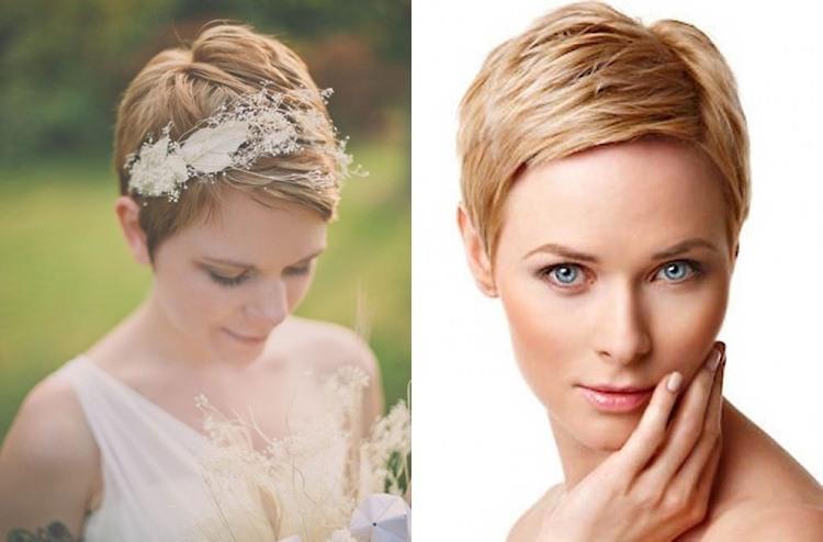 Укладка свадебная на очень короткие волосы