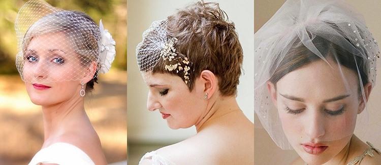 Свадебные украшение на короткие волосы