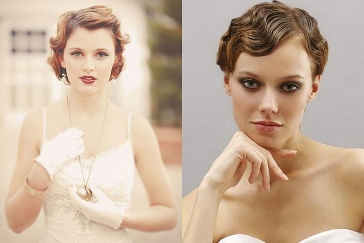 Свадебная прическа на короткие волосы в стиле ретро фото 2
