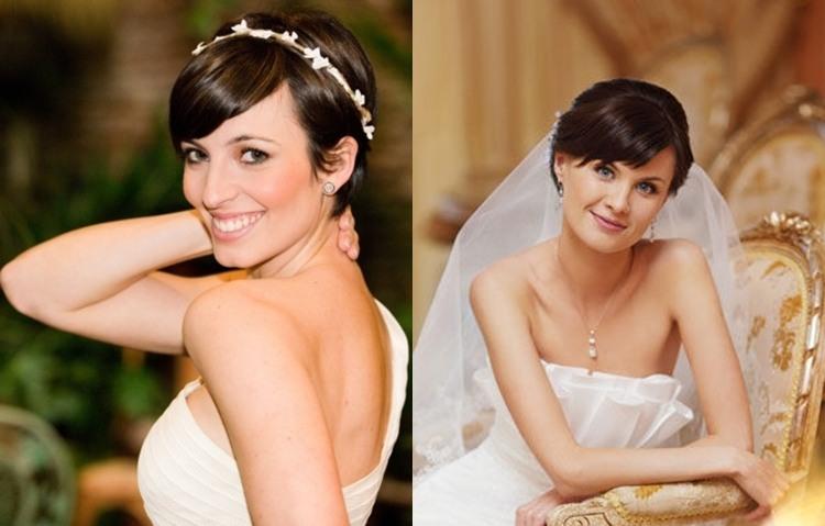 Свадебная прическа на короткие волосы в стиле романтизм с челкой