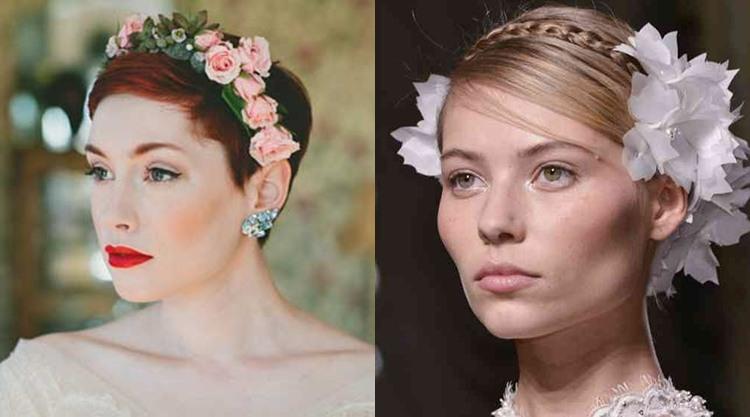 Свадебная прическа на короткие волосы в стиле минимализм с цветами