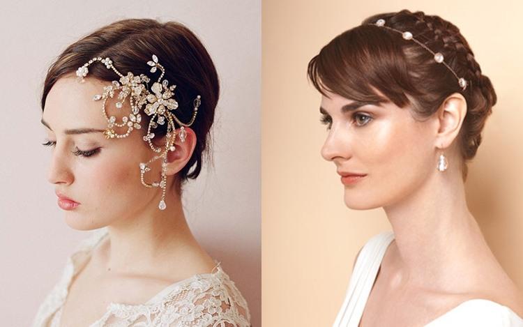 Свадебная прическа на короткие волосы в стиле минимализм с аксессуарами