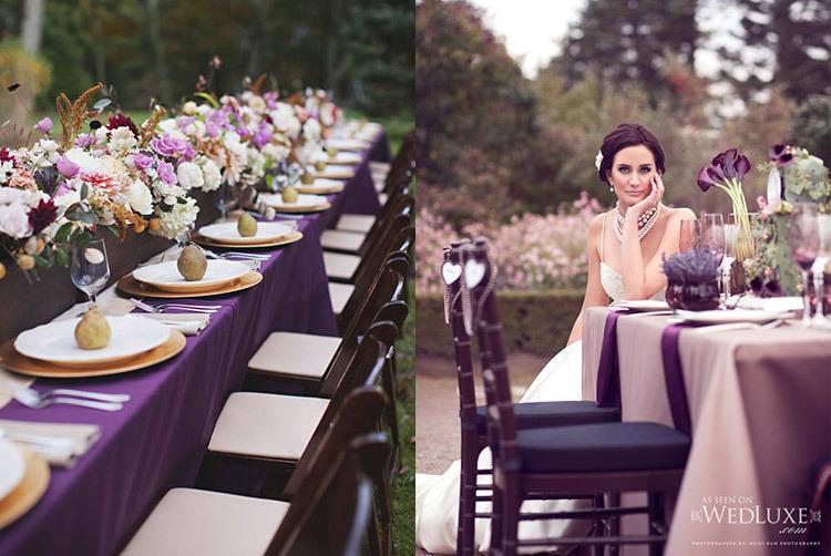 Оформление свадьбы в аметистовом цвете