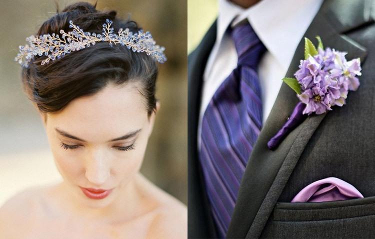 Образ жениха на свадьбе в аметистовом цвете