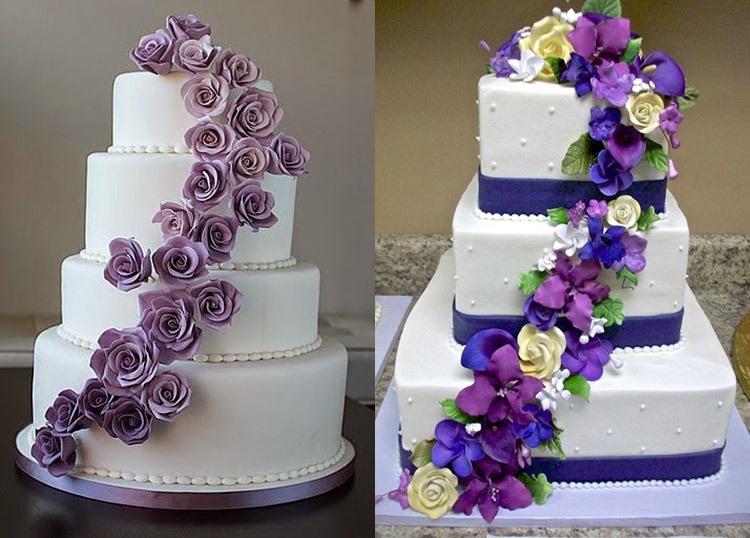Торты для свадьбы в аметистовом цвете