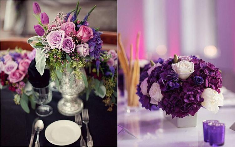 Декорирование стола на свадьбе в аметистовом цвете