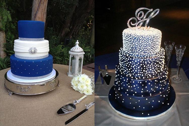 Торты для свадьбы в кобальтовом цвете