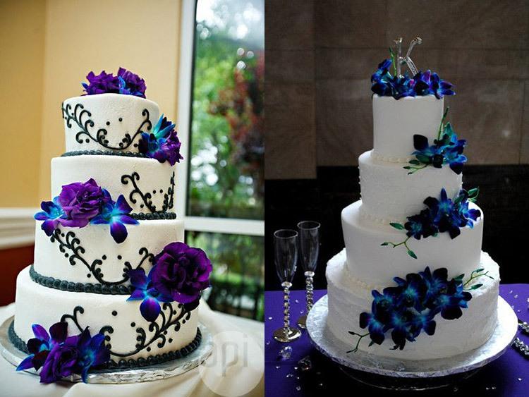 Красивые торты на свадьбу в кобальтовом цвете