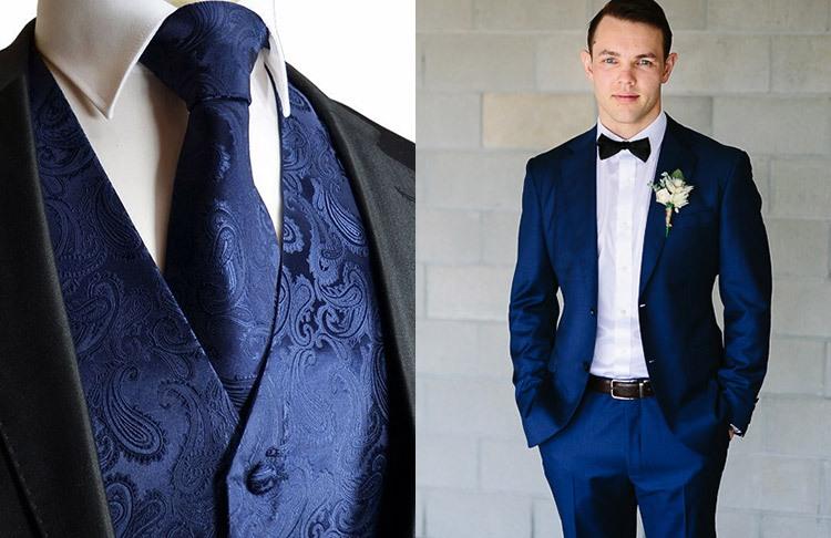 Образ жениха на свадьбе в синем цвете