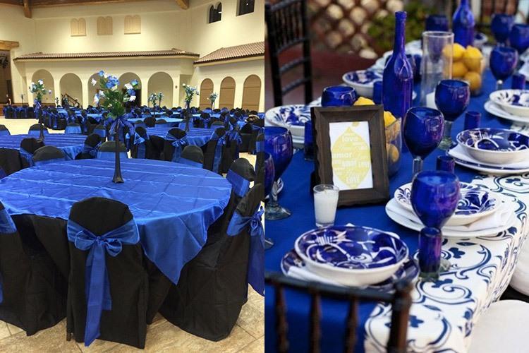 Оформление зала для свадьбы в синем цвете