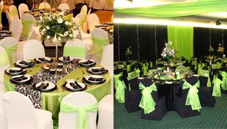 Оформление зала на свадьбу в светло-зеленом цвете