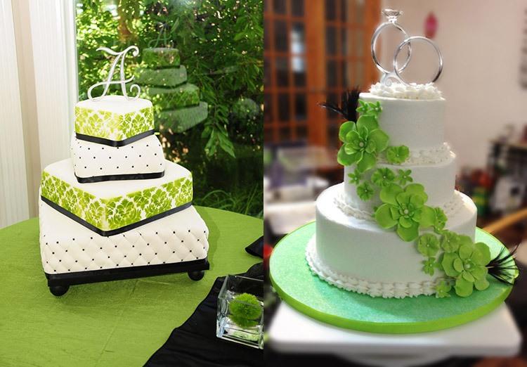 Торт на свадьбу в зеленом цвете