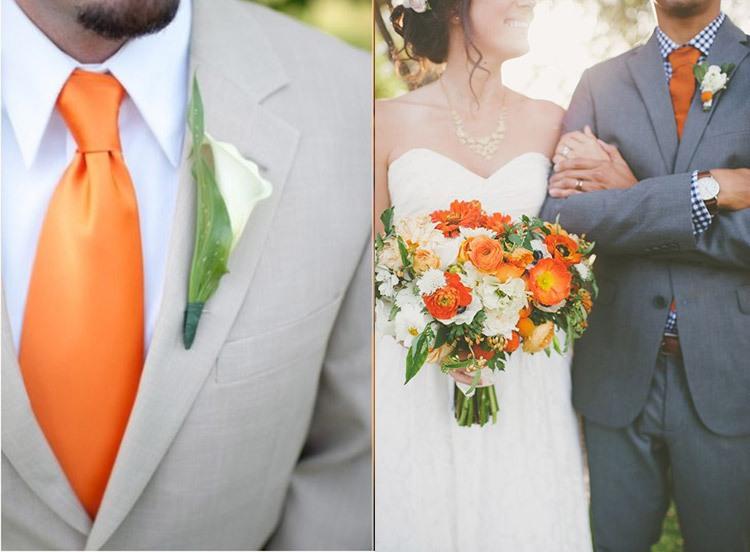 Образы жениха и невесты на свадьбе в оранжевом цвете