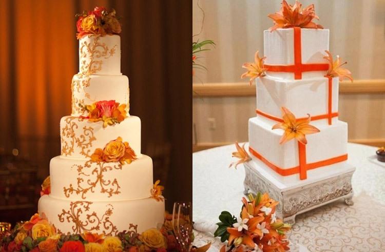 торт для свадьбы в оранжевом цвете