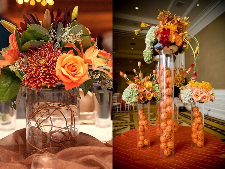 Оформление стола на свадьбе в оранжевом цвете