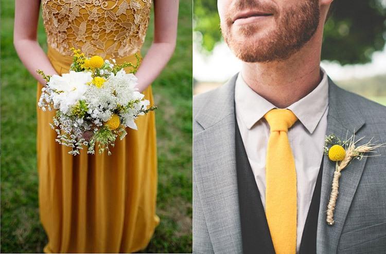 Образы жениха и невесты на свадьбе в желто-горчичном цвете