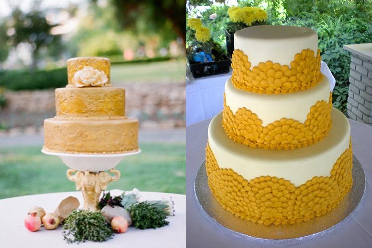 Торты на свадьбу в желто-горчичном цвете