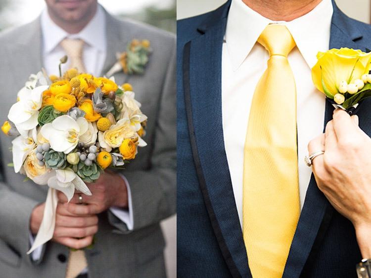 Образ жениха на свадьбе в желто-горчичном цвете