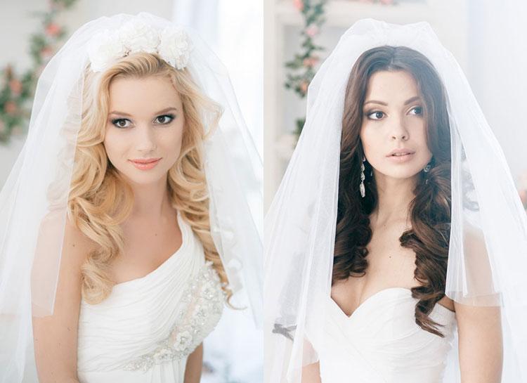 Свадебные причёски на распущенные волосы с фатой