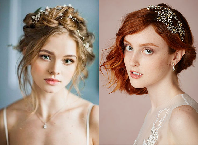 Свадебные высокие прически на средние волосы
