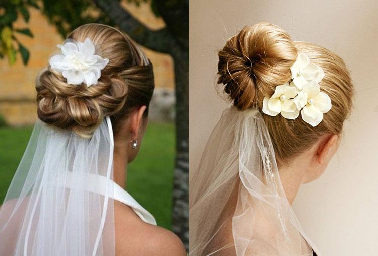 Свадебные прически на короткие волосы с пучком