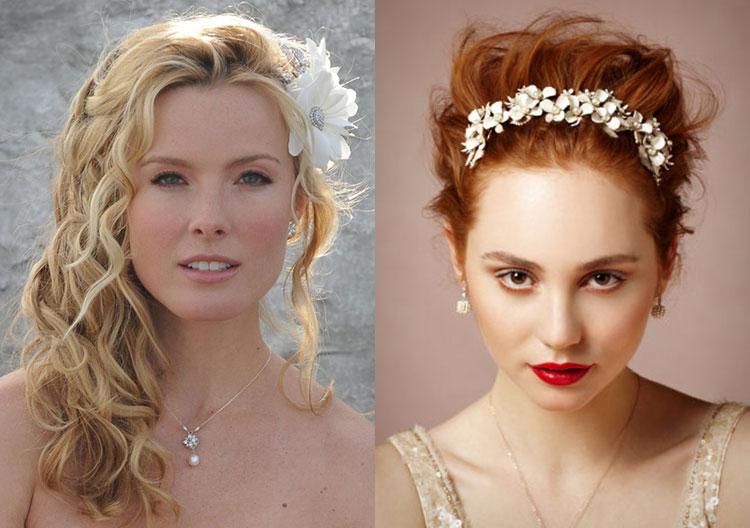 Свадебные прически на средние волосы - распущенный и собранный вариант