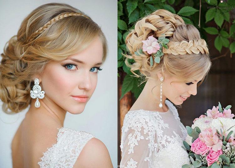 Свадебная прическа на средние волосы с косами для невест