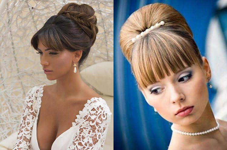 Свадебные прически на средние волосы с фатой и с челкой
