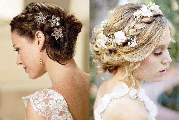 Свадебные прически на средние волосы с косами