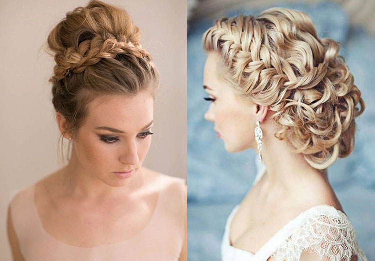 Свадебные прически на средние волосы с косами-корзиночками