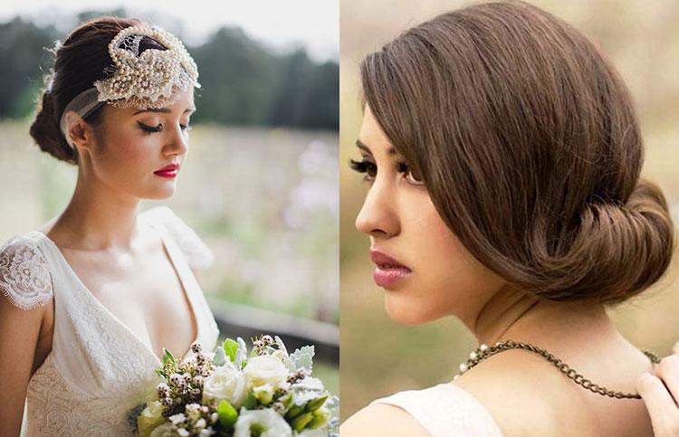 Свадебные прически на средние волосы в стиле ретро