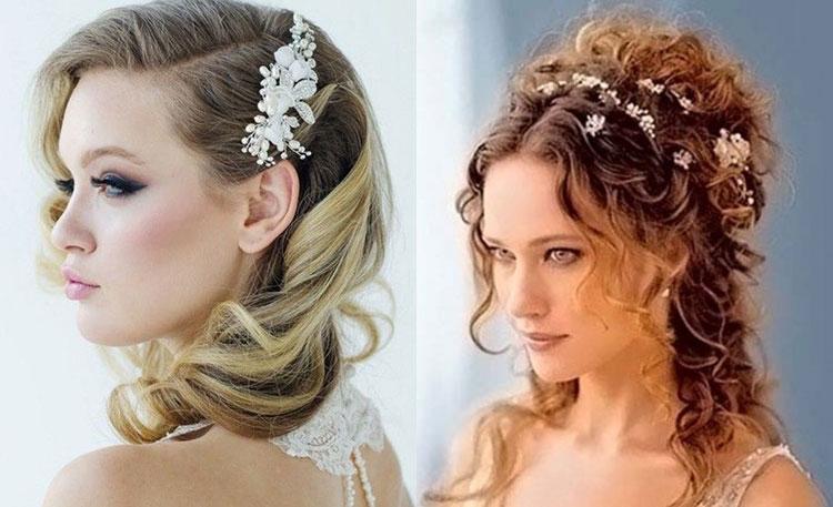 Свадебные прически на средние волосы с локонами
