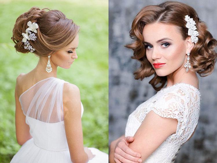 Свадебные прически на средние волосы. Подражание ретро-стилю