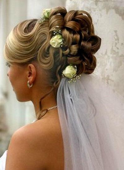 Высокие свадебные прически на длинные