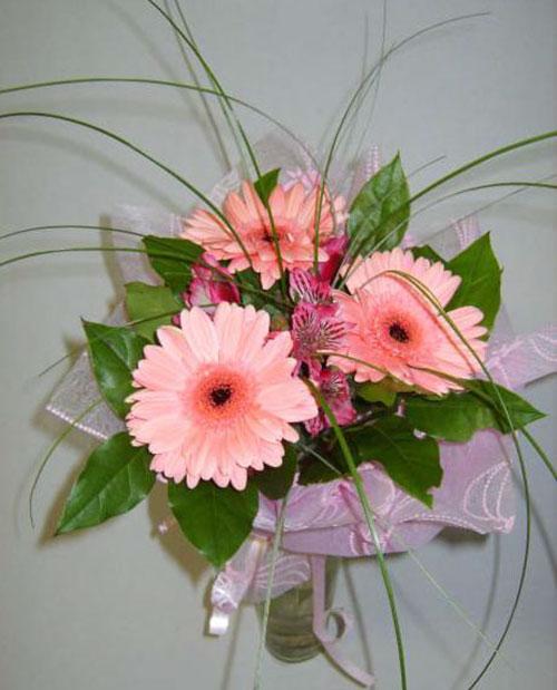 Букет ярко нежно розовых гербер, красивые цветы большой букеты фото