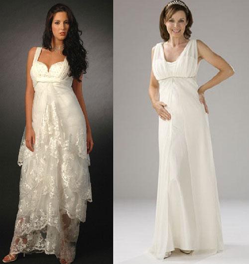 Фото: Греческий стиль свадебных платьев для беременных делает невесту визуально стройнее и выше