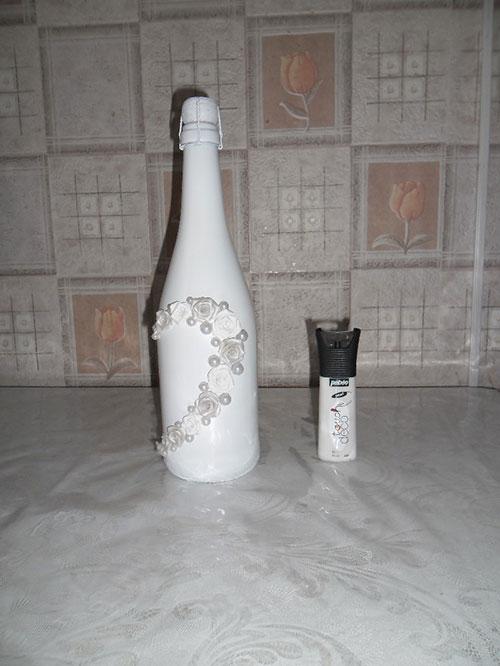 Шампанское на свадьбу своими руками из лент