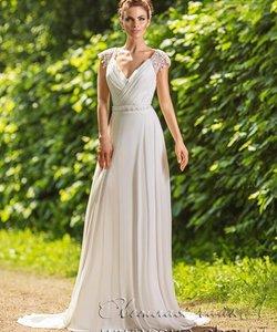 Колір сукні  Білий   Слонова кістка. Довжина сукні  Довге Фасон плаття   Ампір (грецьке) Додатково  відкрите ba09668953e57